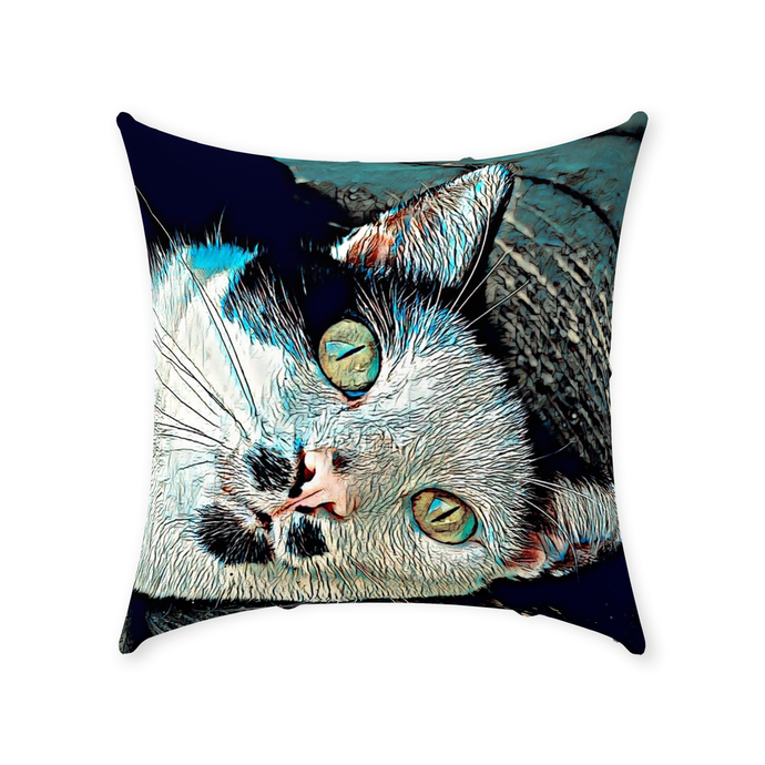 The Dapper Cat's Eyes - Couch Pillow - Sir Nibbler personalized gifts custom gift idea Expanded Perspective