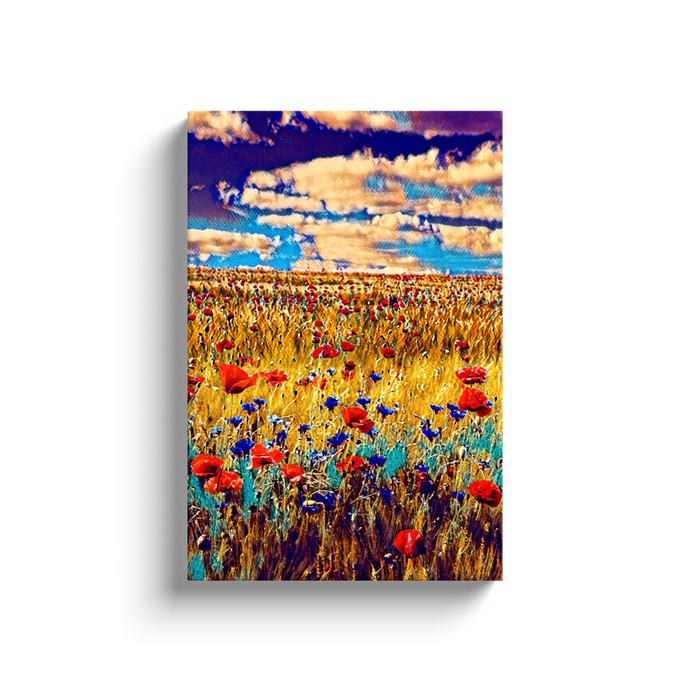 Poppy Field Canvas  Print - Wall Art - Decor - Graphic Art personalized gifts custom gift idea Expanded Perspective