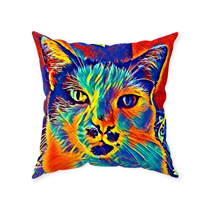 Colorful Dapper Cat Throw Pillow - Couch Pillow - Sir Nibbler personalized gifts custom gift idea Expanded Perspective