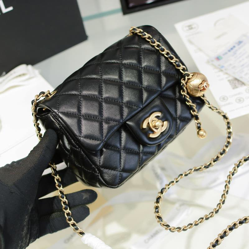 2020 Pearl Crush SS Square Mini Flap Bag