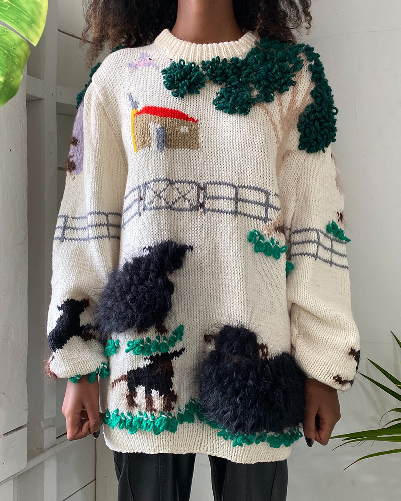 80s Hand Knit Shaggy Sheep Sweater