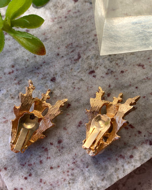 80s Gold Oak Leaf Pearl Earrings