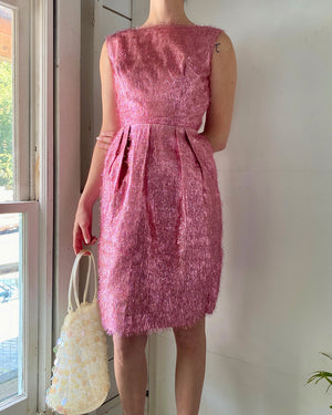60s Pink Metallic Tinsel Dress
