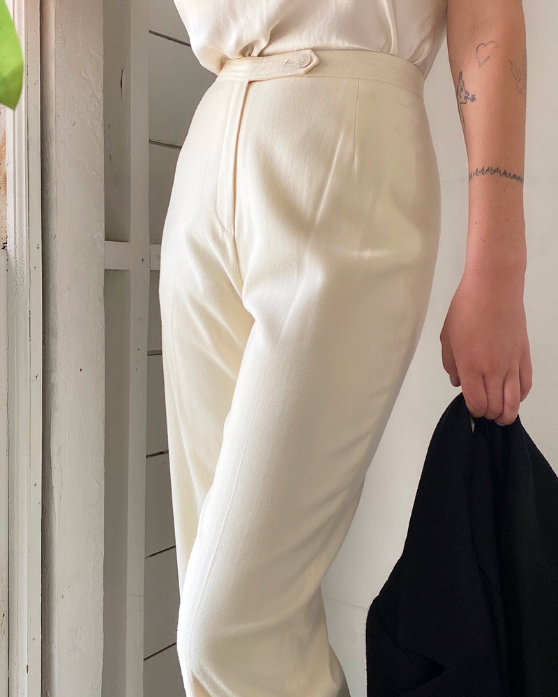 80s Ivory Wool Trousers