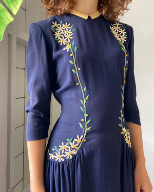 40s Embroidered Navy Dress