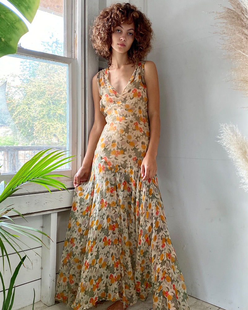 30s Floral Silk Gown