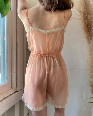1930s Peach Silk Step-In