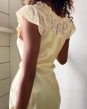 30s Lacy Yellow Slip Dress