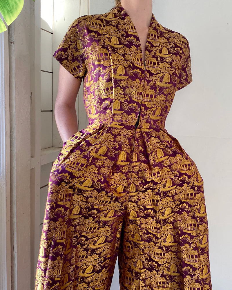 40s Silk Brocade Jumpsuit