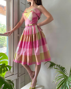 50s Strapless Plaid Silk Dress