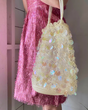 60s Clear Vinyl Iridescent Paillette Bag