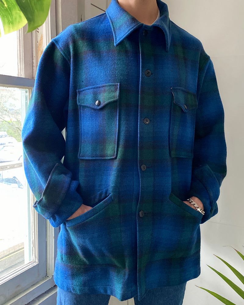 70s Pendleton Plaid Wool Coat