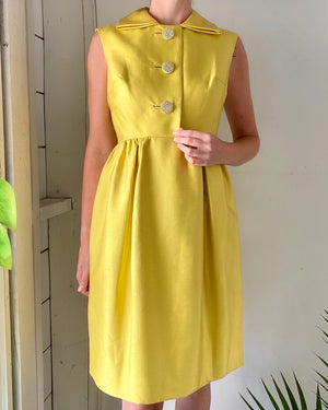 60s Acid Yellow Silk Dress
