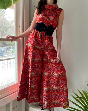 60s Silk Brocade Jumpsuit
