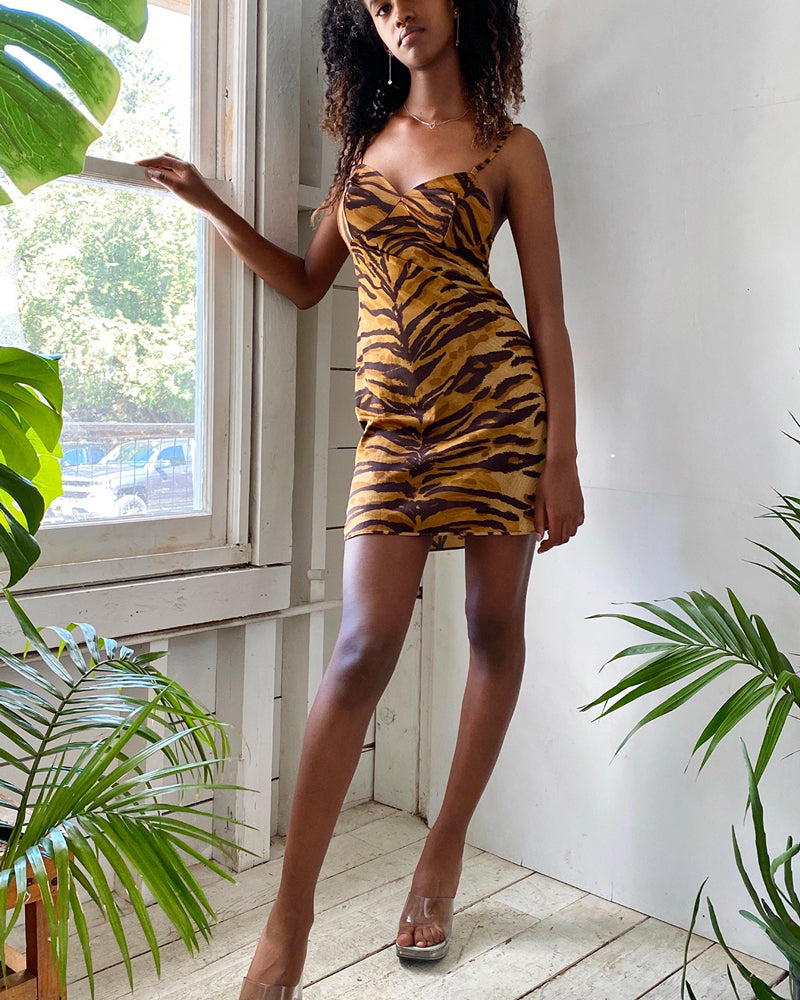 60s Tiger Print Slip Dress