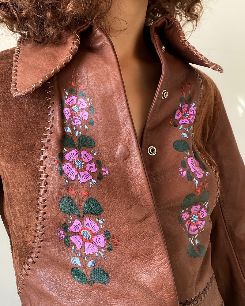 70s Char Painted Leather Jacket