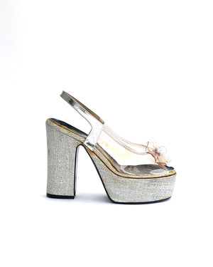 70s Metallic Silver & Clear Vinyl Platforms