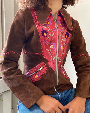 70s Embroidered Leather Jacket