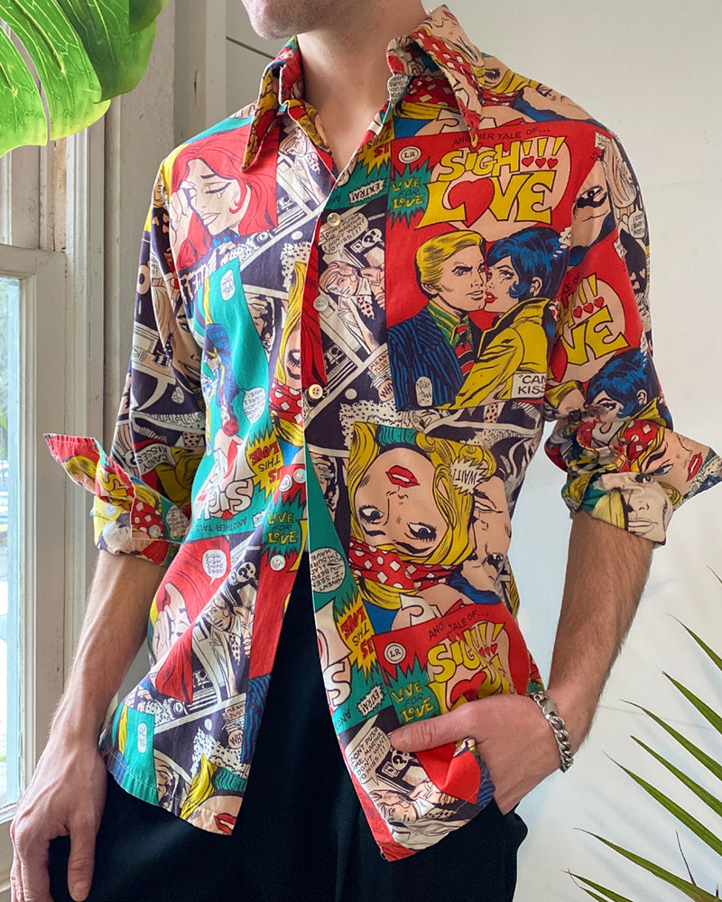 70s Comic Book Print Shirt