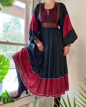 70s Afghan Embroidered Dress