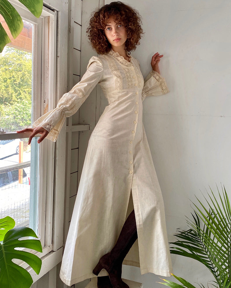 70s Maxi Duster Dress