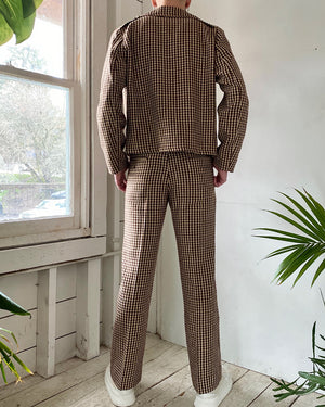 70s Check Wool Suit