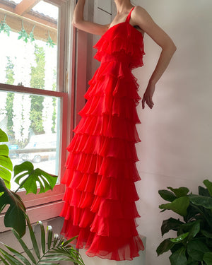 70s Tiered Ruffle Maxi Dress