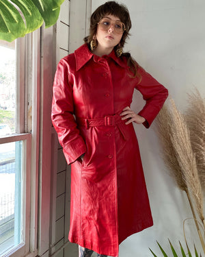 70s Red Leather Trench