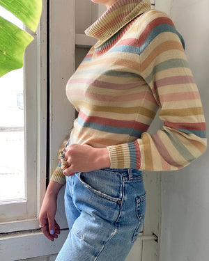 70s Striped Turtleneck