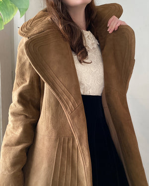 70s Belted Suede Trench