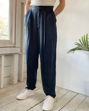 90s Black Silk Pants