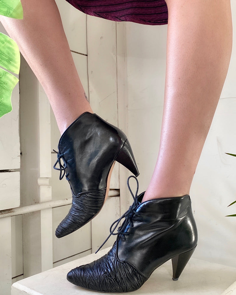 80s Leather Ankle Boots