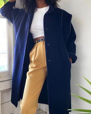 80s Feraud Navy Wool Coat