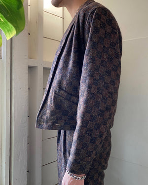 80s Checked Wool Suit