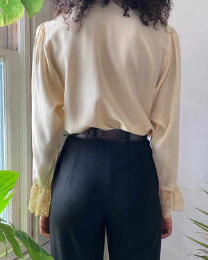 80s Oleg Cassini Silk Blouse