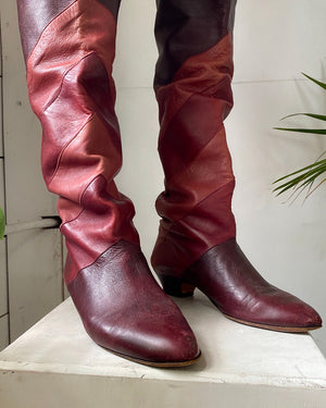 80s Burgundy Over the Knee Boots