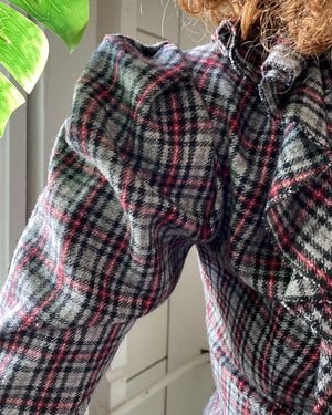 80s Plaid Ruffle Blouse