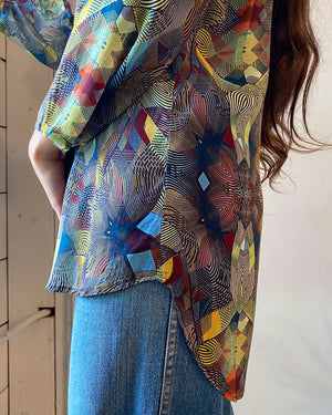 00s Art Print Silk Top