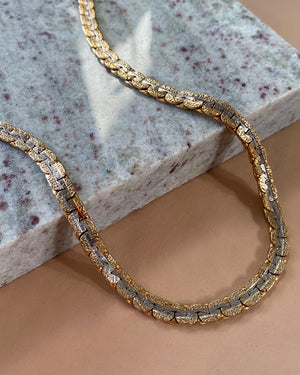 2-Tone Flattened Chain Necklace