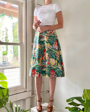 40s Novelty Print Skirt