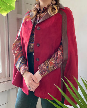 60s 2-Tone Burgundy Leather Cape