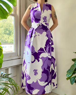 60s Graphic Floral Maxi Dress