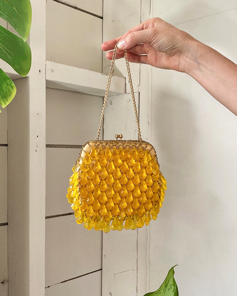 60s Citrine Beaded Party Bag