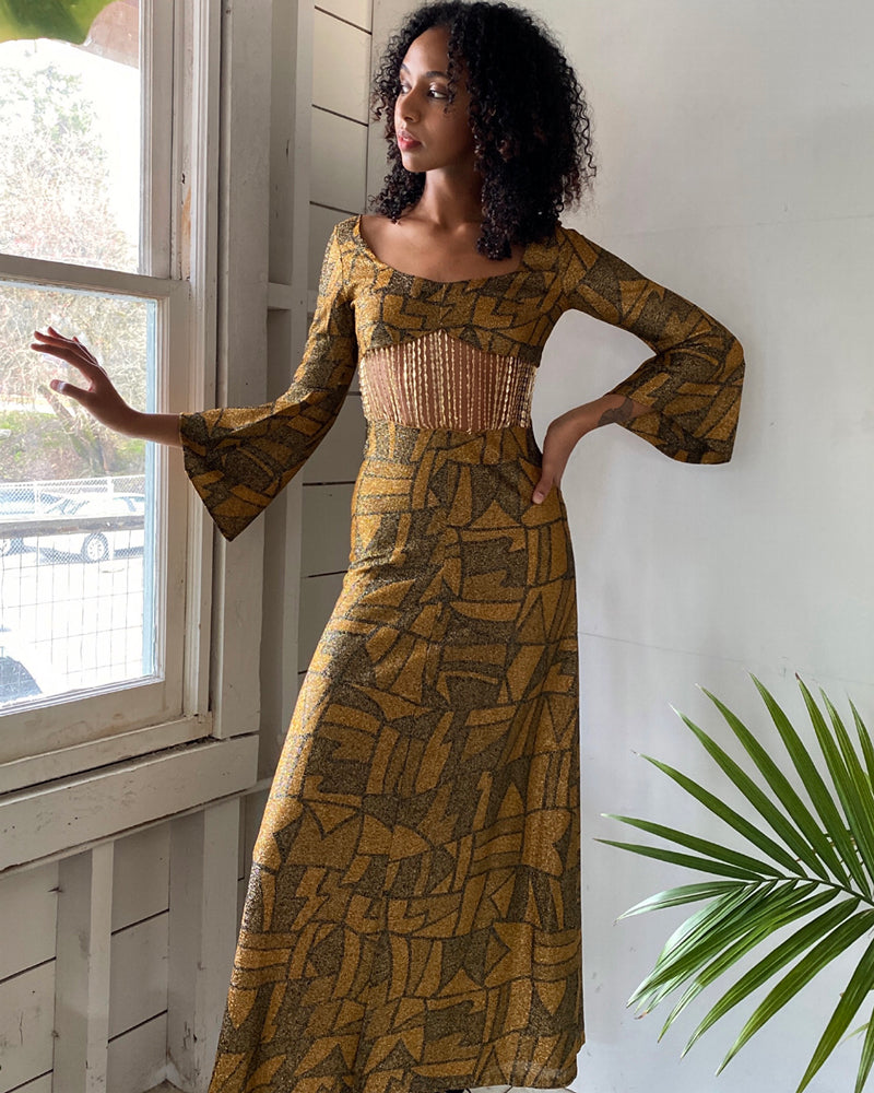 70s Chain Midriff Maxi Dress