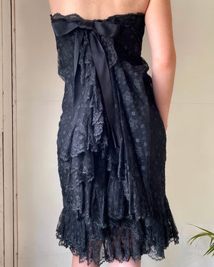 60s Dior Strapless Black Lace Dress