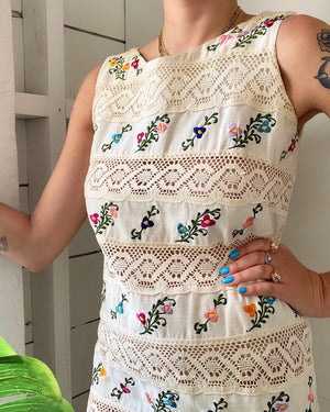 60s Embroidered Peekaboo Dress