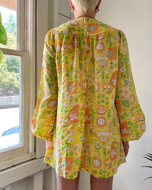 60s Novelty Print Smock Dress