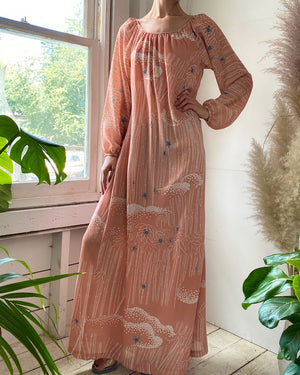 70s Hanae Mori Bamboo Print Dress