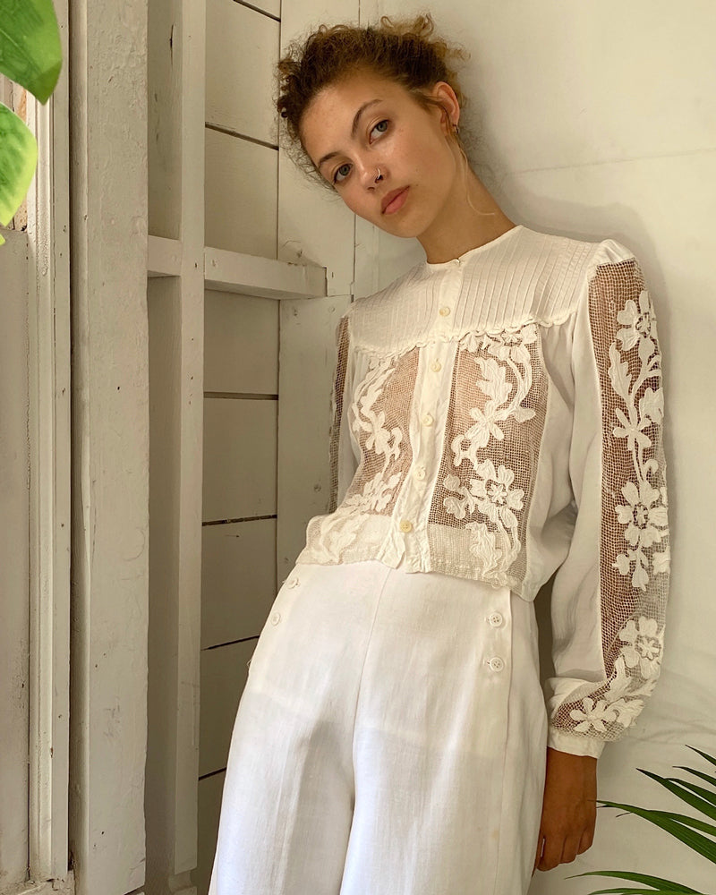 40s Cutwork Crop Blouse