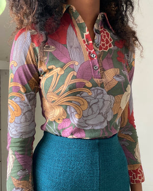 70s Floral Print Pullover